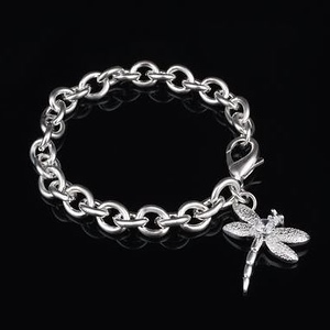 Sterling Silver Dragonfly Rhinestone Bracelet Chain