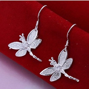 925 Sterling Silver 3D Dragonfly Drop Dangle Earrings