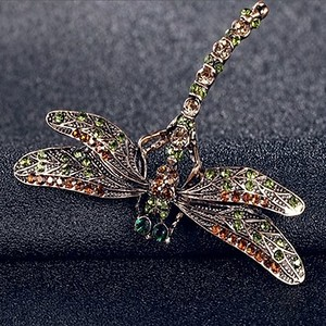 Vintage Noble Dragonfly Crystal Scarf Pin Brooch