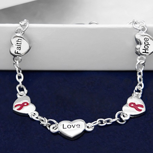 Burgundy Ribbon Silver Bracelet