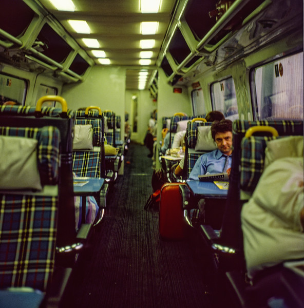 Interior view of the APT-P, on the 16:30 Euston - Glasgow,  during a crew change at Crewe, <br /> on 24th August 1984. This was running at the time as an unadvertised relief. <br /> Scanned transparency.