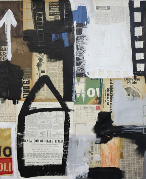 """This is You III"" -Irvin, 36x30 Vintage ephemera, acrylic, & graphite on canvas"