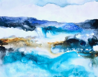 """""""Sea and Sand"""" by Hollack, 40""""x50"""" acrylic painting on loose canvas"""