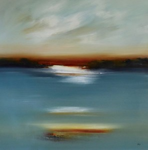 "Across the Water by Ridgers, 40""x40"" acrylic painting on loose canvas (AEAZAS14-8-04)"