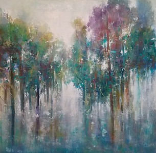 "Misty Woods-Nari, 50""X50"" acrylic painting on loose canvas"