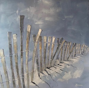 "Ocean Fence II by Burrows, 40""x40"" oil painting on canvas"