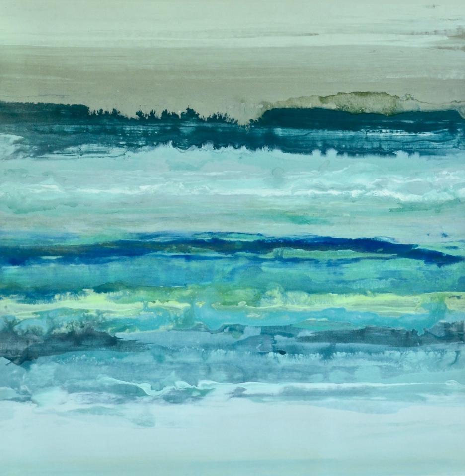 Ocean Memories-Hibberd, 40x40 on canvas (AERS17-2-03)