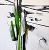 """Trees in Green & Black (Haxton, 48""""X48"""" painting on canvas (AEKH18-2-01)"""
