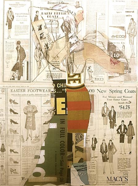 """The Finest I""-Irvin, 40x30 Vintage ephemera & mixed media on canvas"