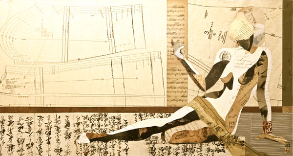 """Magnetique XIII""-Irvin, 30x57 Mixed media, vintage ephemera on canvas.jpg"