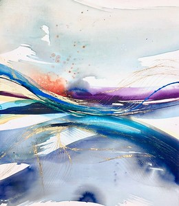"""""""Swell 1"""" by Leila, 30""""X26"""" acrylic painting on loose canvas"""