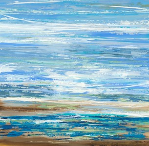 "Making Waves-jardine, 40""x40"" acrylic painting on loose canvas"