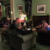 Project team meeting for discussion by the fire in the Carrington Hotel in Katoomba