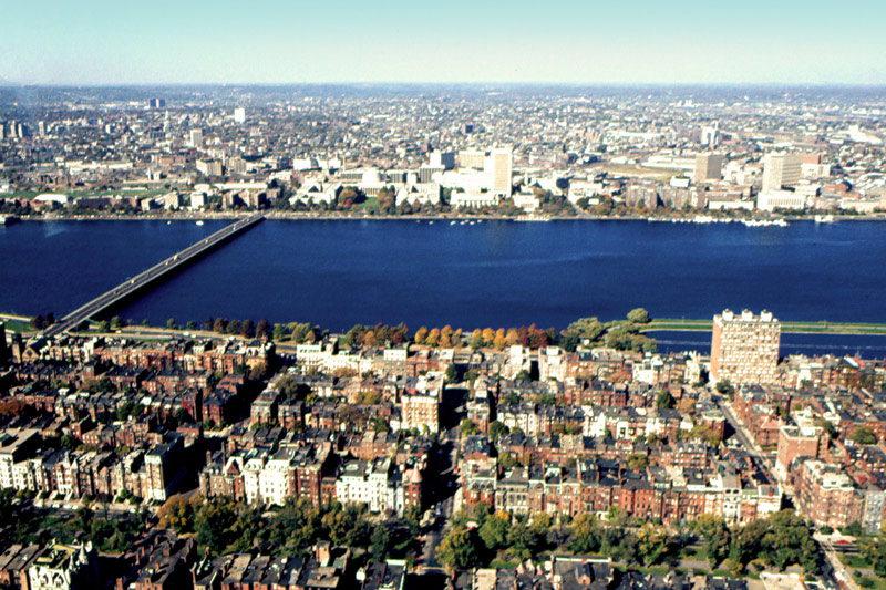 A view of Charles River taken from the observation deck of the Prudential Bank Building.