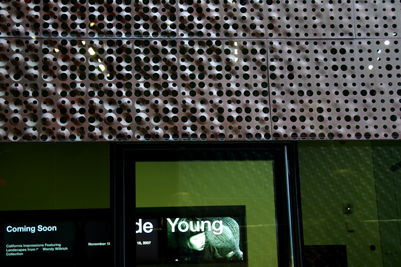 This photograph and the next show close up the copper cladding with varios perforation sizes and various indentations.