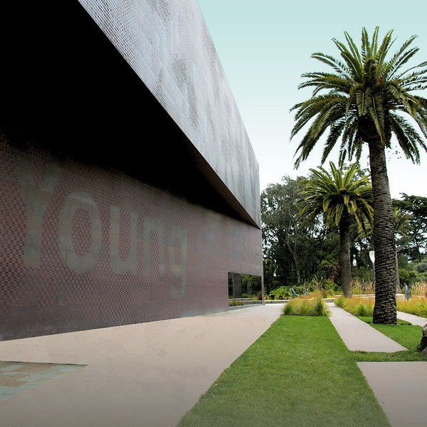 """Part of the front facade with the word """"de Young"""" made smooth without the usual textures and perforations of the copper cladding."""