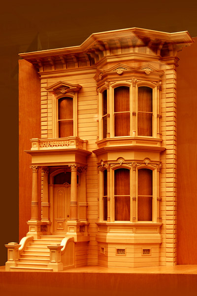A model of a typical Victorian House facade.