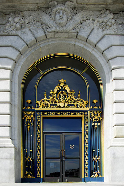 A closer look at the entry door with its intricate steel grilles.