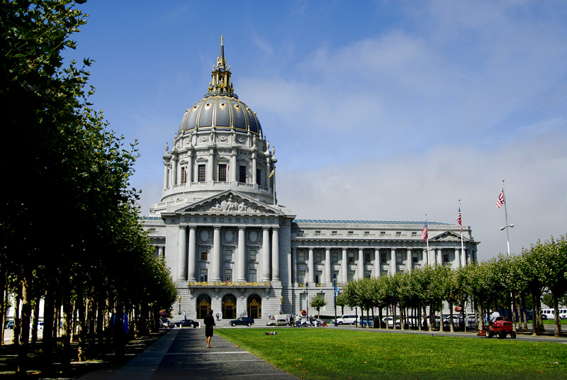 This is the front of the city hall. The front and the rear side are identical except for the elevation of the street from the ground floor level. The city hall faces the United Nations Plaza and it the official 1 Dr. Carlton B. Goodlett Place, San Francisco.