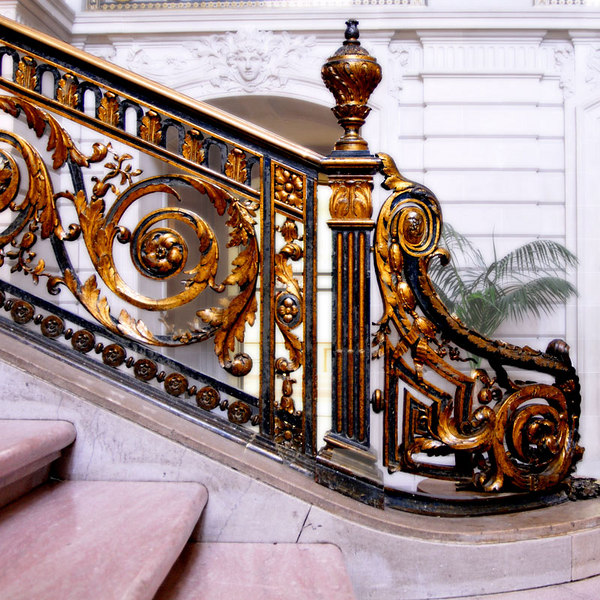 A closer look at the details of the railings of the grand stair.