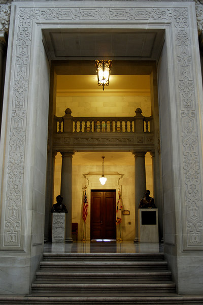 A view of the entrance to the mayor's office.