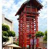 This is latest photo on the watchtower. They have repainted it with a red color and emphasized the steel compression band below the solid wood timber posts.