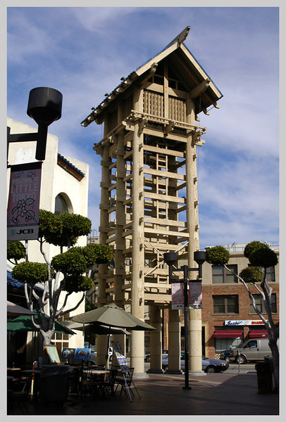 This is the identification mark of the shopping center. It is a replica of a fire watch tower they use in Japan. A couple of people usually stays up the top to watch for fire. The Architect is David Hyun and Associates. these photos were taken during my visit to the place on 2005 and 2006.
