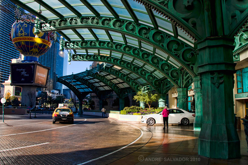 The entrance canopy at Paris Hotel and Casino.
