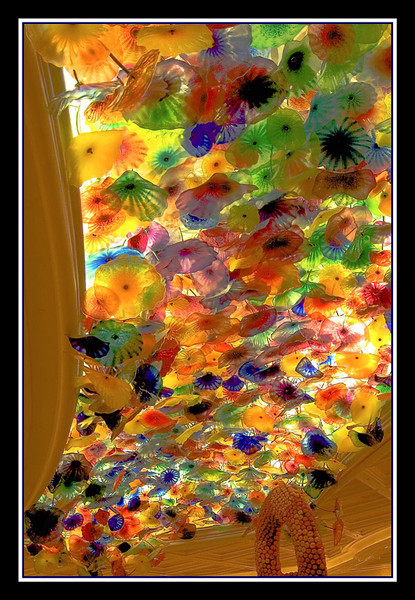 This is a photo of the blown-glass sculptured ceiling of Bellagio Hotel. The glass sculptor is Dale Chihulis.