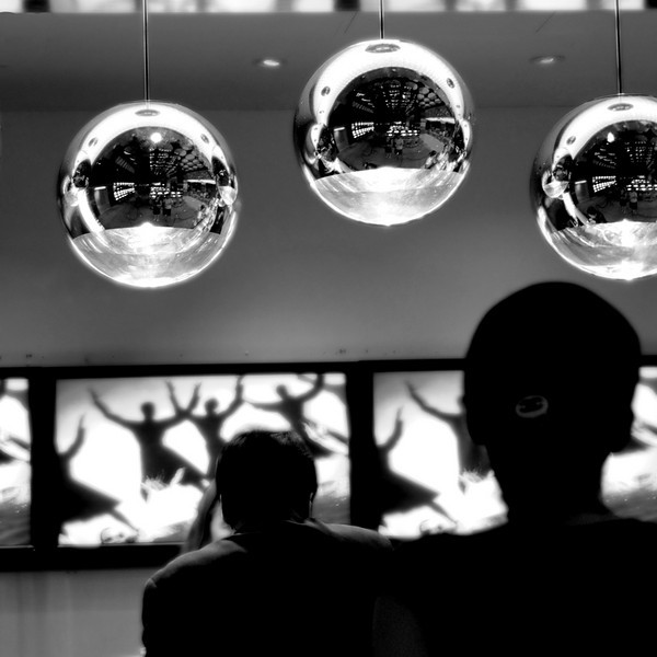 The big shiny spheres at the ticket counter of the theater at The Mirage Hotel and Casino.