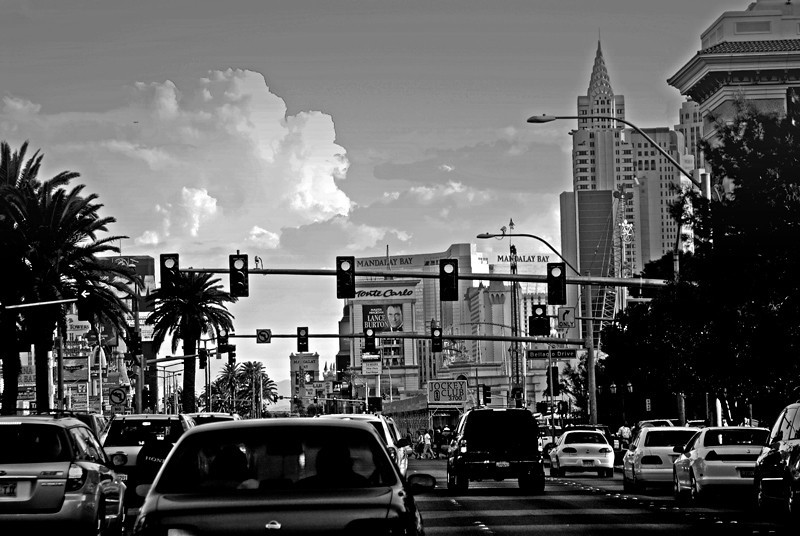 "A view of Las Vegas Boulevard or sometimes called ""the Strip""."