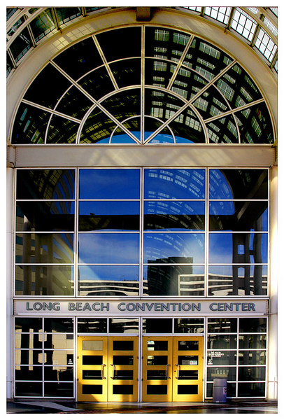 The east side entrance to the Long Beach Convention Center.
