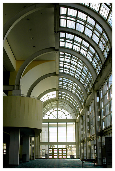 From inside the lobby of the Long Beach Convention Center looking towards the west end side entrance.