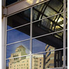 The glare and reflection on the curtain wall of the Long Beach Convention Center.