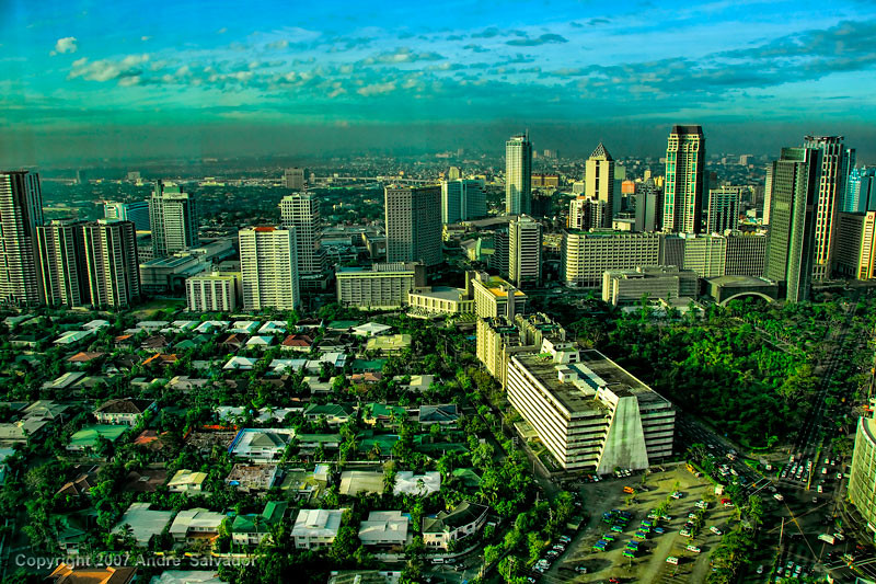 A view of Makati skyline looking towards the Urdaneta Village, Atrium Building and Ayala Triangle.