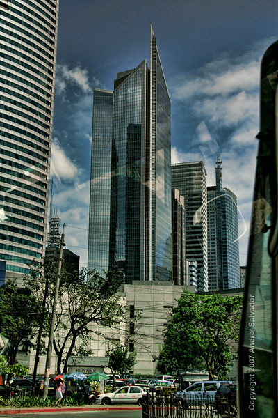 A newer office building at Ayala Avenue, taken inside our  car.