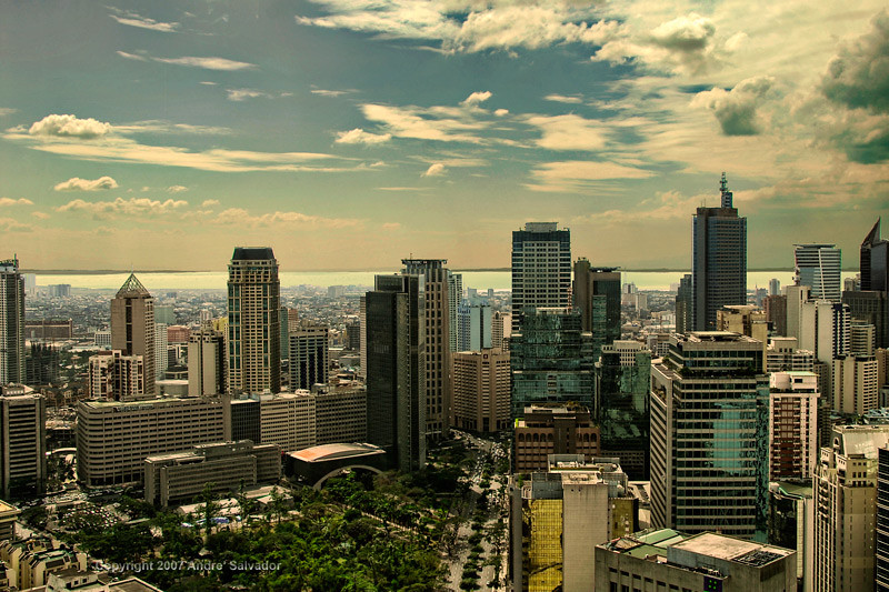 The Makati skyline and Manila Bay beyond.