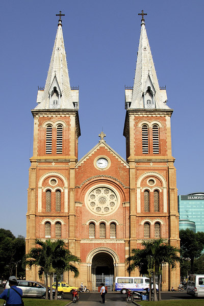 The front facade of the Notre Dame Church in Ho Chi Min.