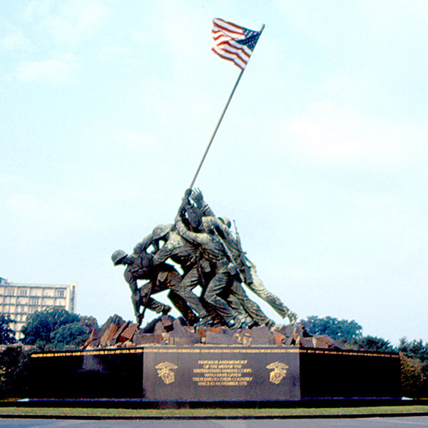 U.S. Marine Corps War Memorial or the Iwo Jima War Memorial is located near the Arlington National Cemetery. This 32-foot-high sculpture of the Iwo Jima Memorial was inspired by a Pulitzer Prize winning photograph of one of the most historic battles of World War II.
