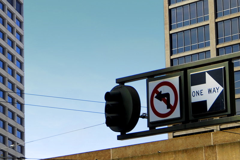 Traffic signs at Market Street