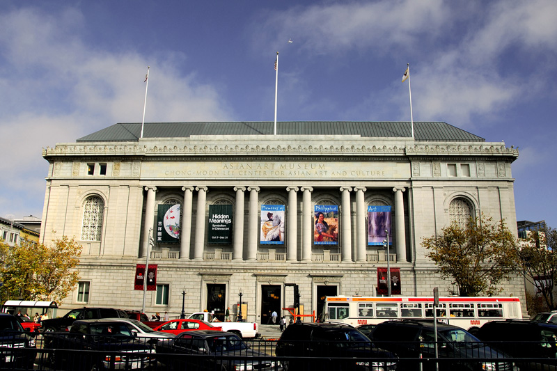 "This is the front elevation of the Asian Art Museum at 200 Larkin Street, San Francisco. The Asian Art Museum of San Francisco is one of the largest museums in the Western world devoted exclusively to Asian art. It is more than just an art museum, it is your ticket to Asia. Here, travel through 6,000 years of history, trek across seven major regions, and sample the cultures of numerous countries.  Information from  http://www.asianart.org/  A gallery for this structure is shown here  <a href=""http://andresalvador.smugmug.com/gallery/2132124/1/110404681"">ARTS AND ARCHITECTURE</a>"
