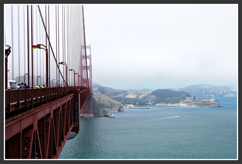 A view of the Golden Gate Bridge and Sausalito beyond.
