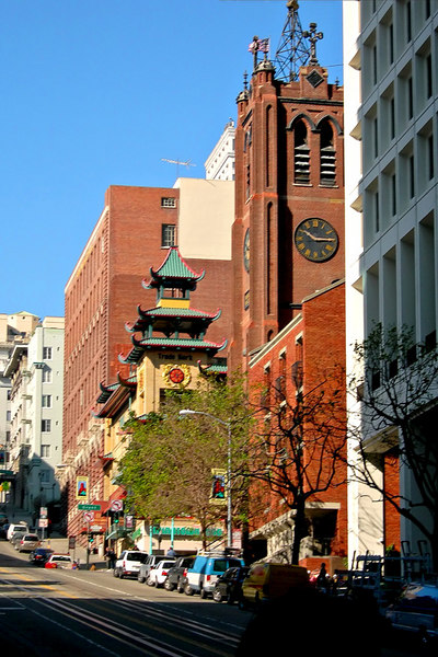 A view looking up California Street. On the right side is St. Marys Cathedral which is at the heart of Chinatown.