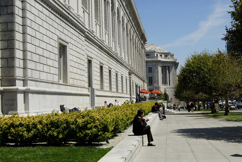 The south face of the Asian Art Museum is popular to the lunchtime crowd because of its south exposure.