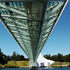 Taken underneath the bridge when the sun was almost overhead. The bridge cast minimal shadow on the water because of the glass floor and because of the brige cross section which is wedge shape to eliminate more shadows. The bridge problem is maintenance related. At springtime the spiders are all over the bridge structures trapping bugs and they all stick to the structure. It is very noticeable on this photograph. The area beyond at water level is a promenade for small programs. When I was here a small art class was being conducted.