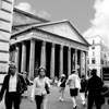 A view of the Pantheon taken where Via De Pastini meets the Piazza Della Rotunda.