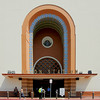 A close-up of the entrance.<br /> <br /> This Union Station, built in 1939 is a grand railroad passenger terminal and the last of its kind to be built in the United States. The exterior is a successful merging of Spanish Mission, Moorish, and Streamline Modern Styles. This station is often used as a movie location.