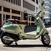 Editorial: 30th June 2019, Basel Switzerland. Retro Vespa moto on the street