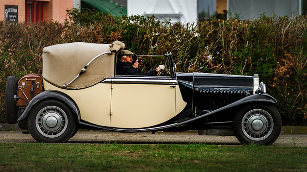 September 15, 2017. Gresswiller, Bas-Rhin, France.  34th Festival Bugatti in Alsace. Beautiful retro cars.