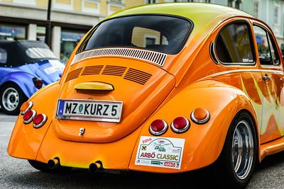 Retro cars rally, street view, St.Gallen, Austria, 2014/06